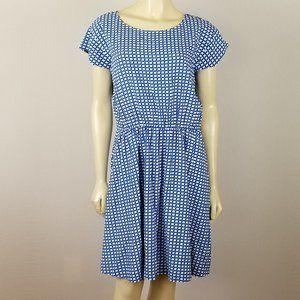 GAP blue white elastic waist dress sz M